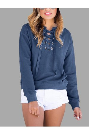 YOINS Women Long Sleeve - Causal Lace-up Long Sleeves Sweatshirt