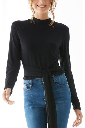 YOINS Women Long Sleeve - Tie-up Design Stand Collar Long Sleeves Tee