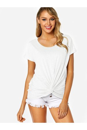 YOINS Round Neck Knot Design Chest Pocket T-shirt