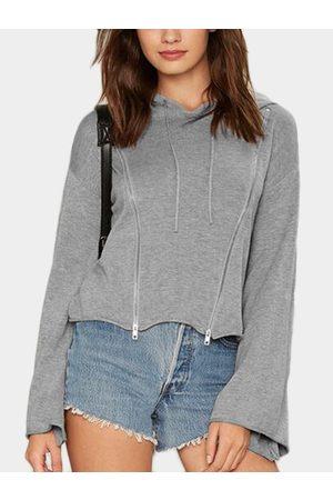 YOINS Women Hoodies - Zip Design Pullover Flared Sleeves Crop Hoodie