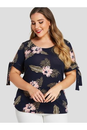 YOINS Plus Size Floral Print Cold Shoulder Tie-up at cuffs Tee