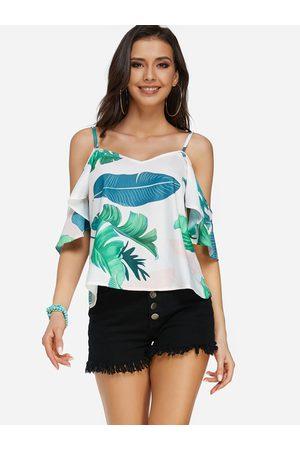 YOINS Women Short Sleeve - Leaf Print Cold Shoulder Short Sleeves Summer Top