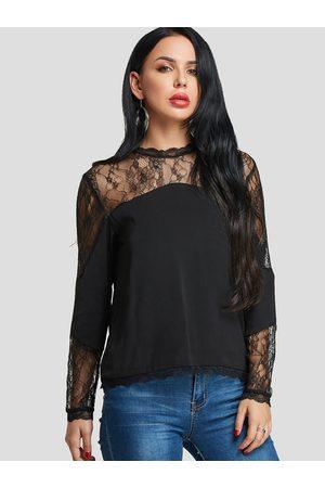 YOINS Women Blouses - Lace Insert Design Round Neck Long Sleeves Blouse