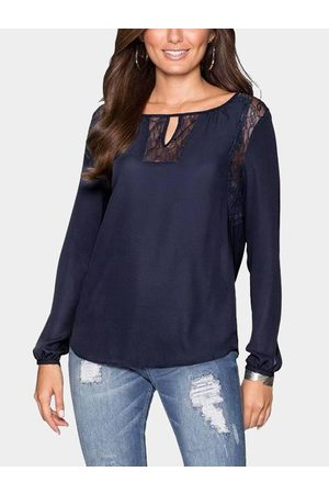 YOINS Women Tops - Lace Insert Round Neck Cutout Front Top