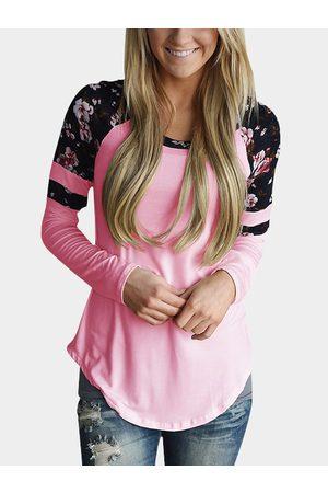 YOINS Women Long Sleeve - Round Neck Floral Print T-shirt