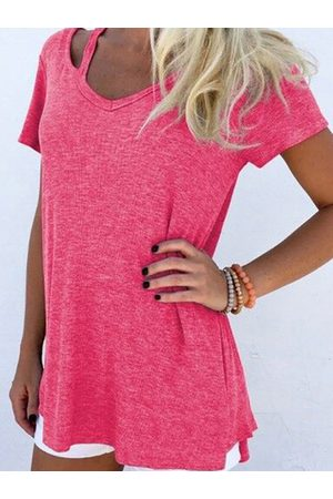 YOINS Women Short Sleeve - Rose V-neck Cut Out T-shirt