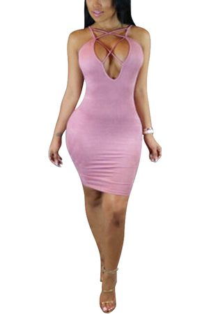 YOINS Women Bodycon Dresses - Lace-up Front Sleeveless Bodycon Hem Dresses with Thin Shoulder Straps