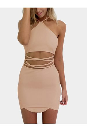 YOINS Women Bodycon Dresses - Pink Sexy Halter Neck & Cutout Waist Mini Dress
