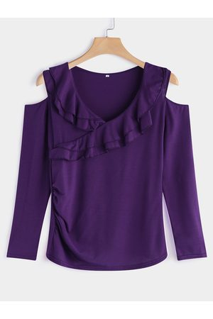 YOINS Tiered Flounced Details Crossed Front Cold Shoulder Long Sleeves T-shirt