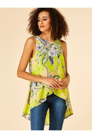 YOINS Floral Print Round Neck Sleeveless Blouse