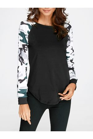 YOINS Camouflage Round Neck Long Sleeves T-shirt