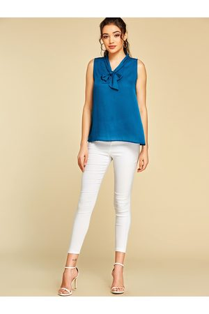 YOINS Women Tank Tops - Ribbon Knotted Design V-neck Sleeveless Blouse