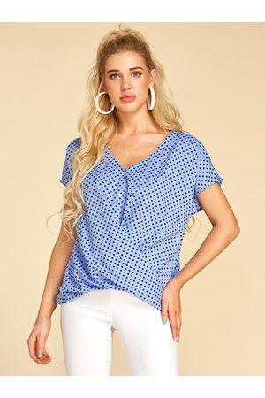 YOINS Women Blouses - Polka Dot V-neck Button Design Twist Blouse