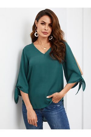 YOINS Women Blouses - Green V-neck 3/4 Length Sleeves Blouse