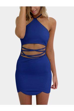 YOINS Women Bodycon Dresses - Sexy Halter Neck & Cutout Waist Mini Dress