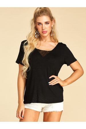 YOINS Women Short Sleeve - Lace Insert V neck Short Sleeves Tee