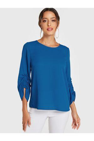 YOINS Women Blouses - Round Neck 3/4 Length Sleeves Blouse