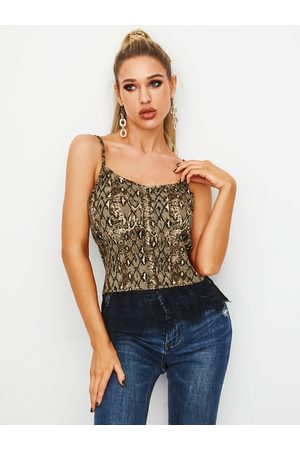 YOINS Brown Snakeskin V-neck Sleeveless Cami