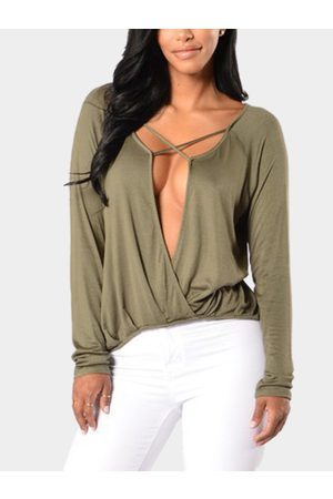 YOINS Women Long Sleeve - Army Casual Deep V-neck Long Sleeves Pure T-shirt