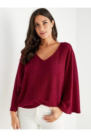 YOINS Women Long Sleeve - V-neck Long Sleeves Jersey Sweater