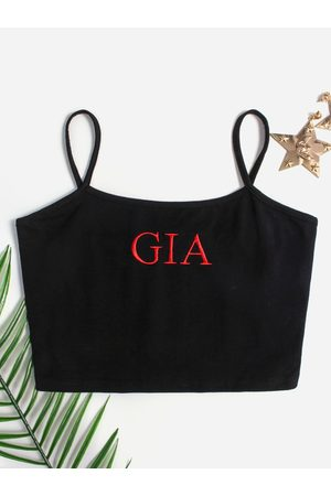 YOINS Embroidered Letter Square Neck Camis