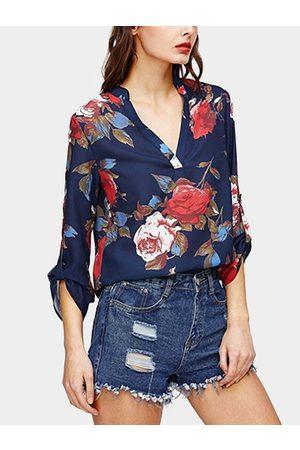 YOINS Women Blouses - Floral Print V-neck Long Sleeves Curved Hem Blouse