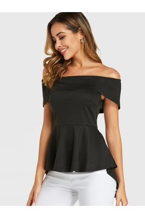 YOINS Women Tops - Off The Shoulder Overlay High Low Hem Blouse