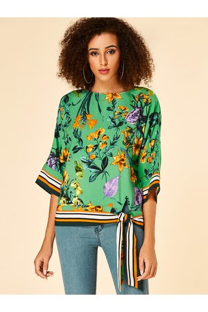 YOINS Women Blouses - Tropical Print Stripe Round Neck Blouse