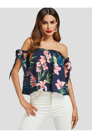 YOINS Smocking Design Floral Print Off The Shoulder Blouse