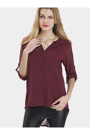 YOINS Women Blouses - V-neck Long Sleeves Chiffon Shirt