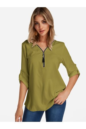 YOINS Army Green Zip Design V-neck Half Sleeves Blouses