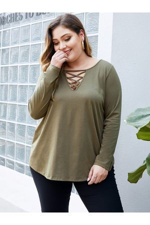 YOINS Women Long Sleeve - Plus Size Criss-cross V-neck Tee