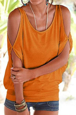YOINS Women Short Sleeve - Scoop Neck Cold Shoulder Tie-up at Back Tee