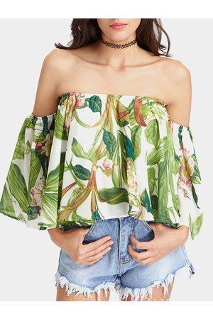 YOINS Women Tops - Light Random Floral Print Off The Shoulder Top