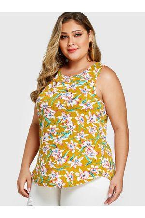 YOINS Plus Size Floral Print Round Neck Tank Top