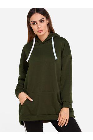 YOINS Women Long Sleeve - Hooded Design Plain Long Sleeves Hoodie With Slip Pockets