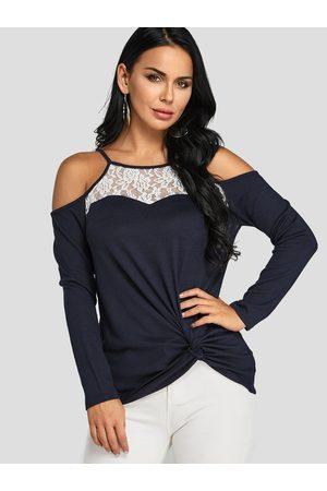 YOINS Women Blouses - Dark Cold Shoulder Lace Blouse