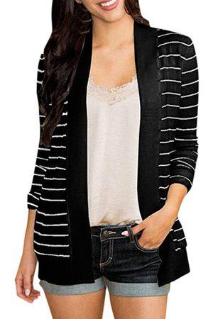 YOINS Women Long Sleeve - Side Pockets Stripe Long Sleeves Cardigan