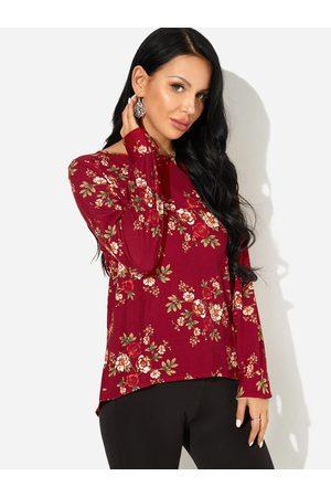 YOINS Zip Back Design Random Floral Print Round Neck Long Sleeves Blouse
