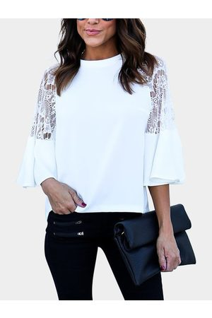 YOINS Women Tops - Round Neck Lace Insert Bell Sleeves Top