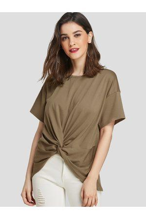 YOINS Women Short Sleeve - Twist Round Neck Short Sleeves Tee