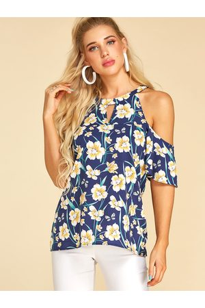 YOINS Women Short Sleeve - Random Floral Print Short Sleeves Blouse