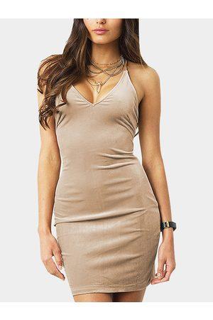 YOINS Women Bodycon Dresses - Bodycon Velvet V-neck Backless Spaghetti Mini Dress