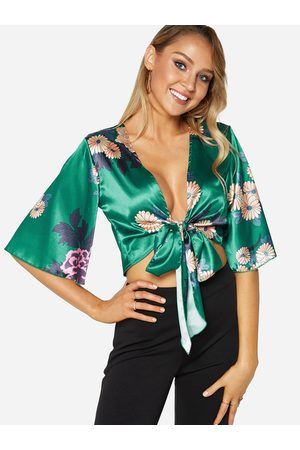 YOINS Women Blouses - Random Floral Print V-neck Self-tie Cropped Blouse in