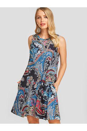 YOINS Multi Tribal Print Round Neck Sleeveless Loose Waist Holiday Style Dress
