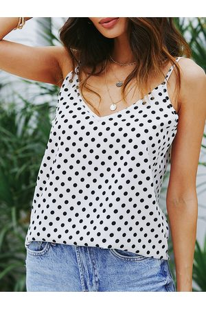 YOINS White Adjustable Shoulder Straps Polka Dot V-neck Sleeveless Cami