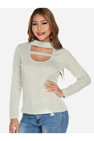 YOINS Cut Out Plain Perkins Collar Long Sleeves T-shirts