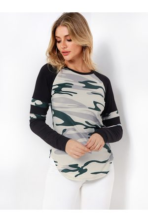 YOINS Women Long Sleeve - Camouflage Color Block Round Neck Long Sleeves Curve Hem T-shirts