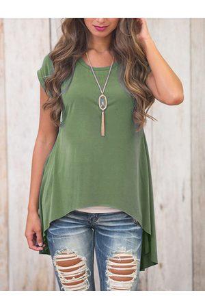 YOINS Women Short Sleeve - Slit Design Plain Crew Neck Short Sleeves High Low Hem T-shirts