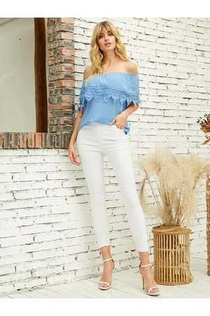 YOINS Women Short Sleeve - Blue Lace Details Off The Shoulder Short Sleeves Blouse